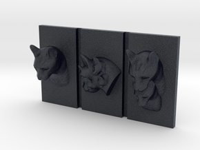 Cat Triptych-Faced Caricature (003) in Black PA12