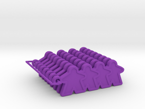 Meeple Line Up - 8 in Purple Processed Versatile Plastic