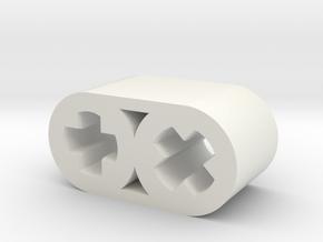 45 Degree Connector in White Natural Versatile Plastic