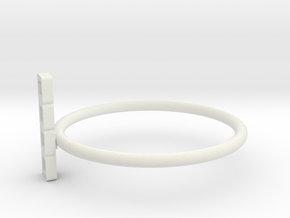 Block Puzzle Ring (Type-I) in White Natural Versatile Plastic
