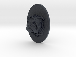 Bulldog Face + Half-Voronoi Mask (001) in Black Professional Plastic