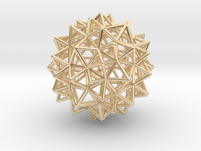 """Stellated Rhombicosidodecahedron 2"""" in 14K Yellow Gold"""