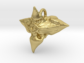 Caltrop Seed Pendant in Natural Brass