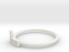 Block Puzzle Ring (Type-L) in White Natural Versatile Plastic