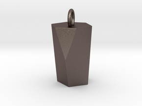 Scutoid Pendant - Version 1 (solid) in Polished Bronzed-Silver Steel