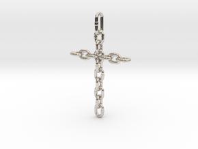 Chain Cross Pendant - Christian Jewelry in Rhodium Plated Brass