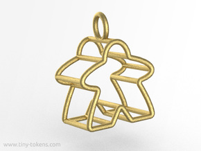 Meeple Wire-frame Pendant in Polished Gold Steel