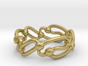 Rolling Wavez Ring  in Natural Brass