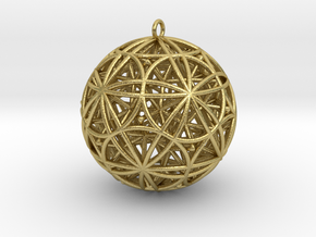 """Stellated Rhombicosidodecahedron 2"""" Pendant in Natural Brass"""