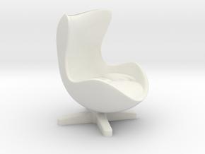 Arne Jacobson Egg Chair Inspired in White Natural Versatile Plastic: Medium