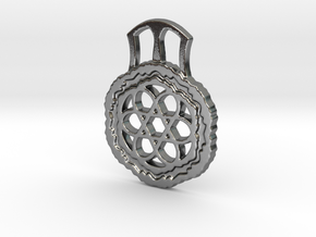 David's Shield Decorated Pendant in Polished Silver