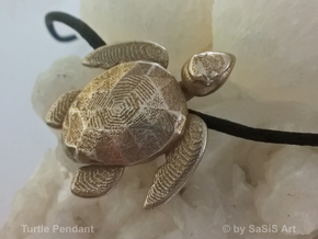 Turtle Pendant in Polished Bronzed-Silver Steel