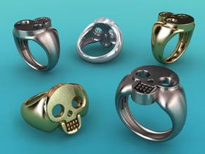 Skull VIII Ring in Polished Bronzed Silver Steel