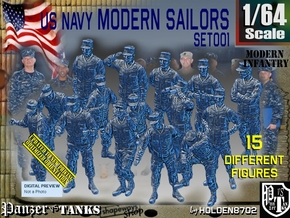 1/64 USN Modern Sailors Set001 in Smooth Fine Detail Plastic