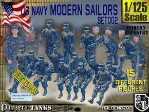 1/125 USN Modern Sailors Set002 in Smooth Fine Detail Plastic
