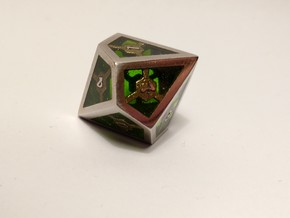D10 Epoxy Dice in Polished Bronzed Silver Steel
