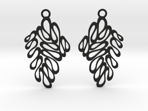 Wave earrings in Black Natural Versatile Plastic: Extra Small