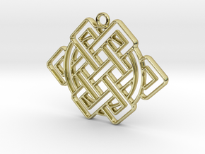 Eternal knot and circle intertwined in 18k Gold Plated Brass