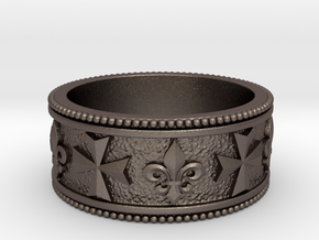 Maltese Cross and a Fleur-de-lis Heraldry Ring in Polished Bronzed-Silver Steel