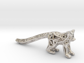 Ring Tailed Lemur in Rhodium Plated Brass