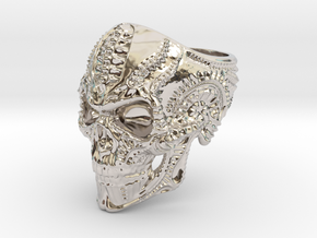 Skull Ring Personalized In Stainless Steel And Sil in Rhodium Plated Brass