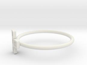 Block Puzzle Ring (Type-T2) in White Natural Versatile Plastic