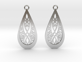 Elven earrings in Natural Silver: Small