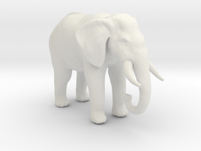 HO Scale African Elephant in White Natural Versatile Plastic