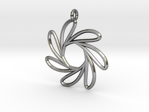 Seven water drop functions pendant in Polished Silver
