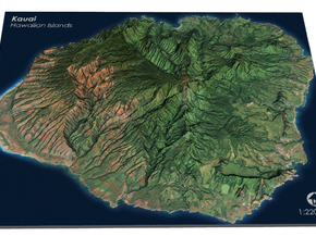 Kauaʻi Map, Hawaiian Islands in Full Color Sandstone