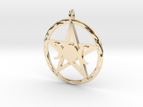 Pentacle with triple Goddess pendant in 14k Gold Plated Brass