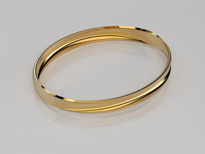 Curved surface bangle in 14K Yellow Gold