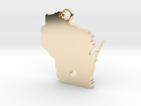 Wisconsin Pendant with Heart in 14k Gold Plated Brass