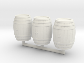 Wooden Barrel 01. 1:24 Scale  in White Natural Versatile Plastic