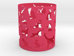 Cat Pen Holder in Pink Processed Versatile Plastic