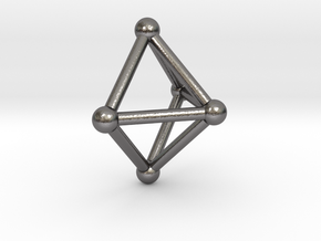 0720 J01 Square Pyramid V&E (a=1cm) #2 in Polished Nickel Steel