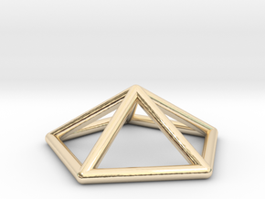 0722 J02 Pentagonal Pyramid E (a=1cm) #1 in 14k Gold Plated Brass