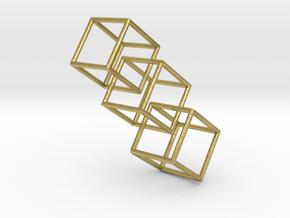 Three interlocking cubes in Natural Brass (Interlocking Parts)