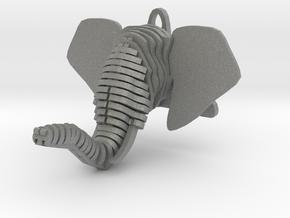 Sliced Elephant head Pendant in Gray PA12