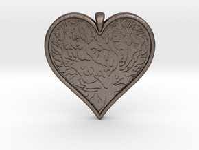 Tree of life Heart pendant in Polished Bronzed-Silver Steel
