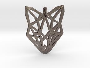 Fox Pendant in Polished Bronzed-Silver Steel