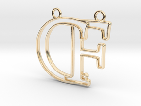 Initials C&F monogram in 14k Gold Plated Brass