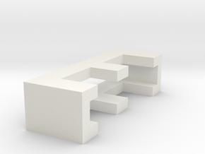 CHOKER SLIDE LETTER E 1⅛, 1¼, 1½, 1¾, 2 inch sizes in White Natural Versatile Plastic: Extra Small