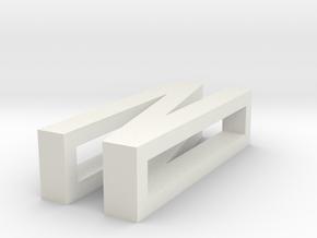 CHOKER SLIDE LETTER N 1⅛, 1¼, 1½, 1¾, 2 inch sizes in White Natural Versatile Plastic: Extra Small