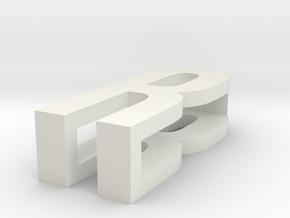 CHOKER SLIDE LETTER R 1⅛, 1¼, 1½, 1¾, 2 inch sizes in White Natural Versatile Plastic: Extra Small