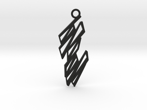 Zigzag pendant in Black Natural Versatile Plastic: Medium