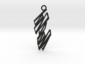 Zigzag pendant in Black Natural Versatile Plastic: Medium