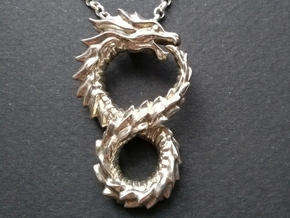 Ouroboros Pendant (Altered Carbon) in Polished Silver