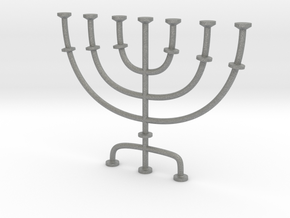 Menorah candlestick 1:12 scale model in Gray Professional Plastic