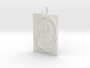 Mother Mary and Infant Christ Abstract Pendant in White Natural Versatile Plastic: Extra Small